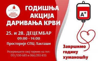 Акција даривања крви 25. и 28. децембар 2020.